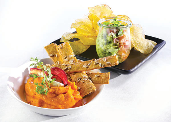 dip and tortilla strips and appetizer plate