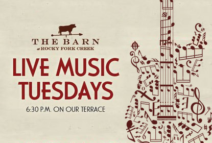 Join us for Live Music Tuesdays at The Barn. Music starts at 6:30pm on the terrace.