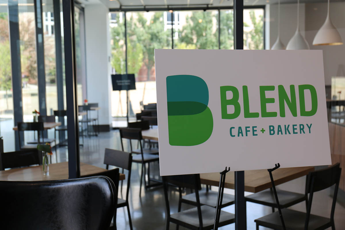"Sign inside Mitchell Hall that says ""Blend Cafe + Bakery"""