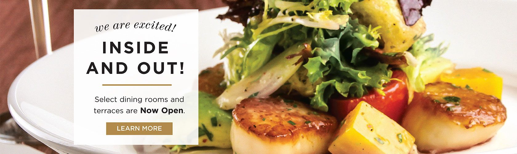 decorative image of scallops with lettuce on top and a message that reads We're Excited inside and out! Select dining rooms and terraces are now open! Learn More