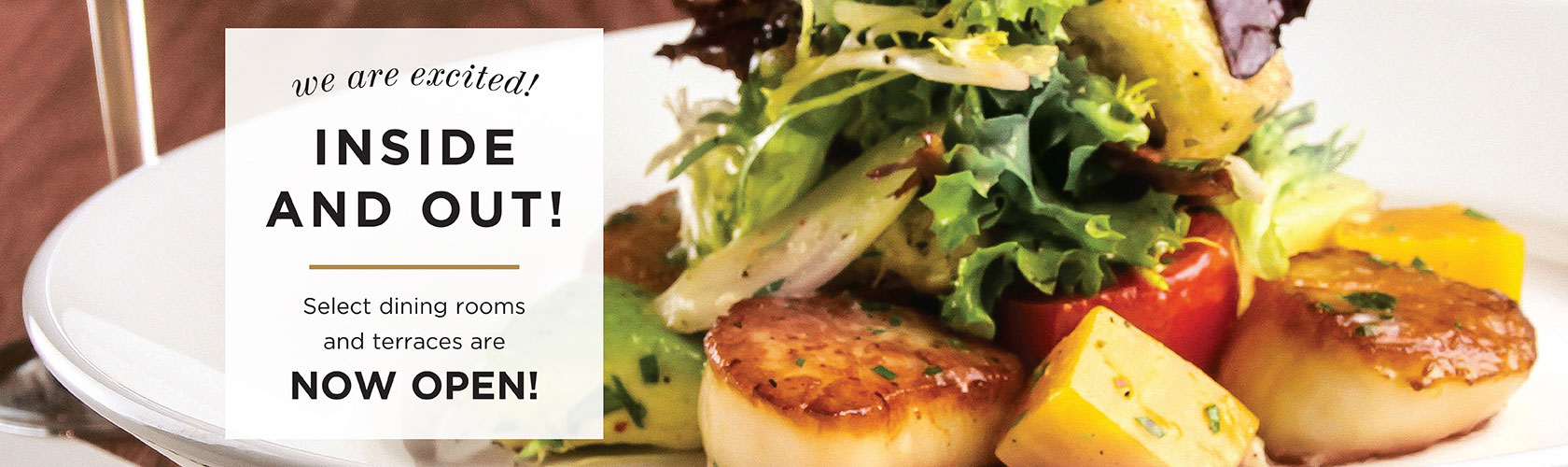 decorative image of scallops with lettuce on top and a message that reads We're Excited inside and out! Select dining rooms and terraces are now open!