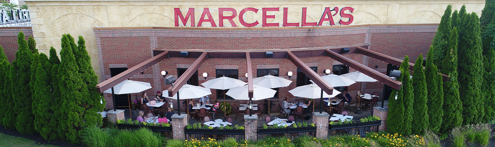 The outdoor patio dining at Marcella's Polaris