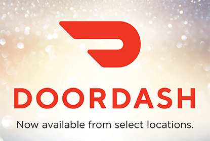 DoorDash logo and promotional text below it that reads Now available from select locations